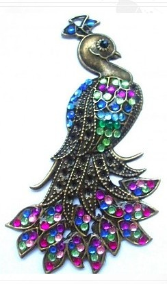 Bronze Peacock decorated with colored stones.