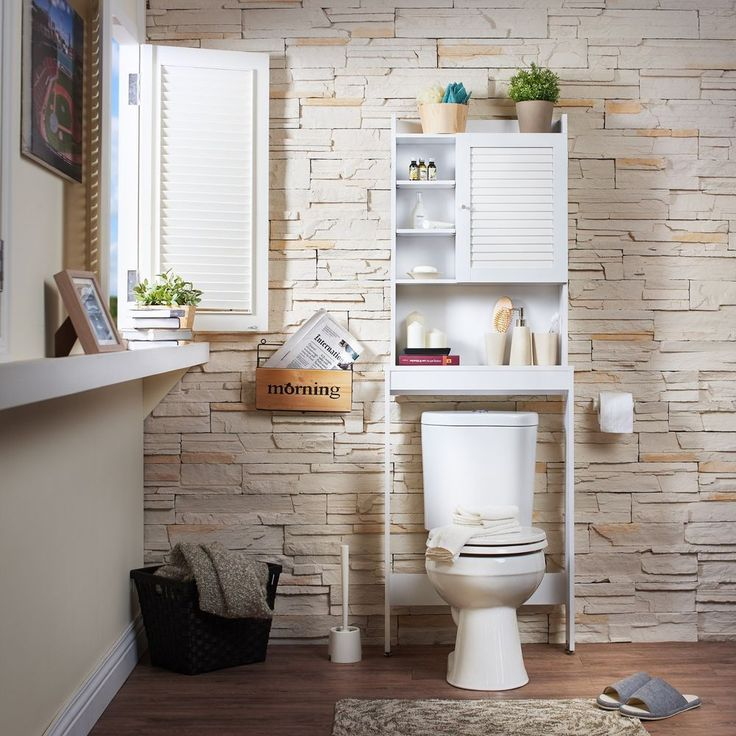 Bathroom Space Saver Cabinet White Enclosed Medicine Storage 7 Shelf Cupboard  #FurnitureofAmerica