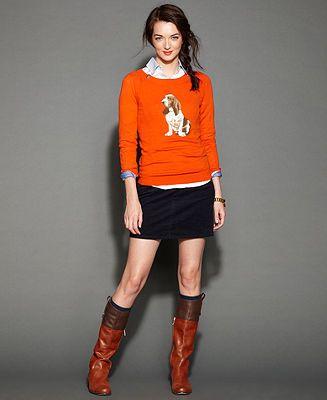 Tommy Hilfiger Sweater, Shirt & Mini Corduroy Skirt - Tommy Hilfiger - Women - Macy's a Basset Hound Sweater????? I need!!!!