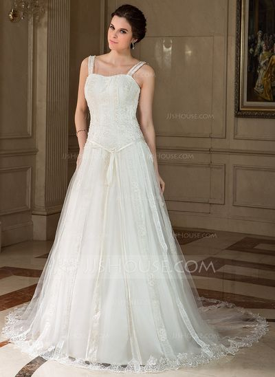 Wedding Dresses - $217.99 - A-Line/Princess Sweetheart Chapel Train Satin Tulle Wedding Dress With Lace Beading Sequins Bow(s) (002000425) http://jjshouse.com/A-Line-Princess-Sweetheart-Chapel-Train-Satin-Tulle-Wedding-Dress-With-Lace-Beading-Sequins-Bow-S-002000425-g425