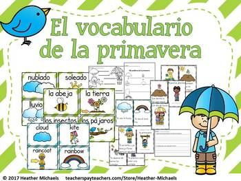 I created these vocabulary cards and the following activities in order to make a clearer link between emerging literacy, content, and ESL in my bilingual Kindergarten classroom. Along with the activities included here, my students read/heard non-fiction and fiction texts about winter, went on an outside walk to look for the signs of spring, planted seeds and charted their growth, and composed LEAs about spring and their spring experiences.