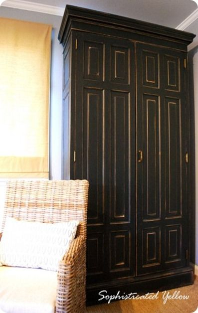Transform inexpensive furniture to match retail finds (like this painted/distressed Restoration Hardware-style armoire)