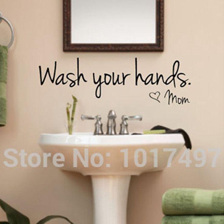 bathroom wall stickers -- Wash Your Hands Love Mom - Waterproof  Art Vinyl decal bathroom wall decor ,F2071