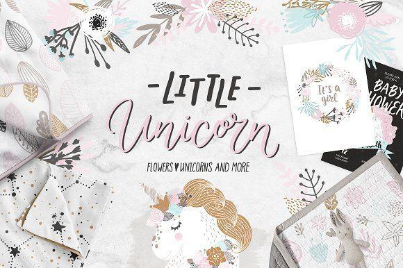 Unicorns and flowers by tatiletters on @creativemarket