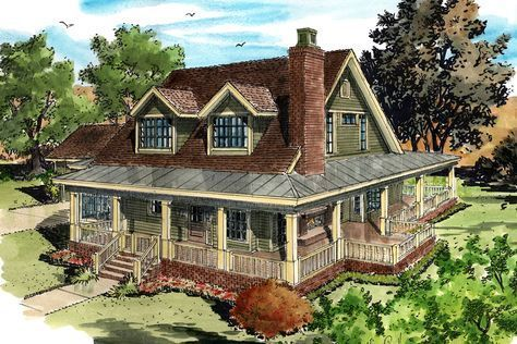 Classic Country Farmhouse House Plan - 12954KN | 1st Floor Master Suite, CAD Available, Country, Den-Office-Library-Study, Farmhouse, MBR Sitting Area, PDF, Wrap Around Porch | Architectural Designs