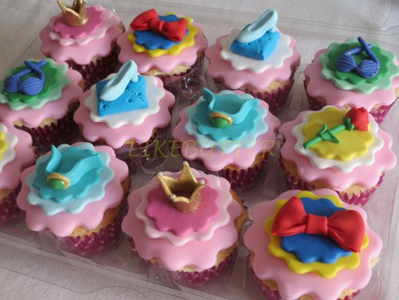 disney pricess cupcakes | Fondant Disney Princess Cupcake Toppers by LikeButter on Etsy