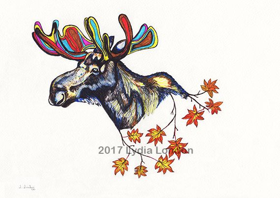 Moose with Maple Leaves Letter Size by LydiaLondonArtCanada
