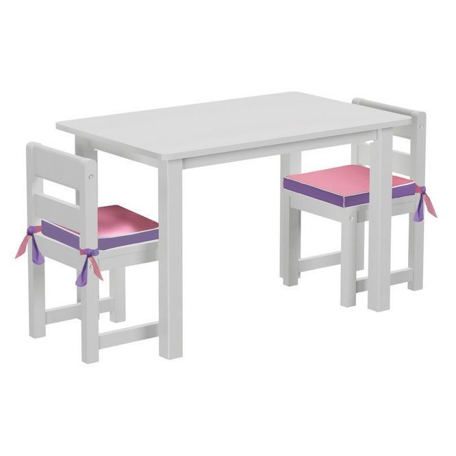 Maxtrix Kids Play Table with Two Small Chairs with Reversible Purple/ Pink Seat Pads (White)
