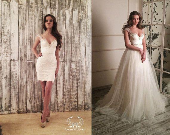 Wedding dress 2 in 1, short wedding dress, beach wedding dress, lace wedding dress !!! Only 1 available Size 84-64-92 -PRICE 2,150.00 EUR!!!