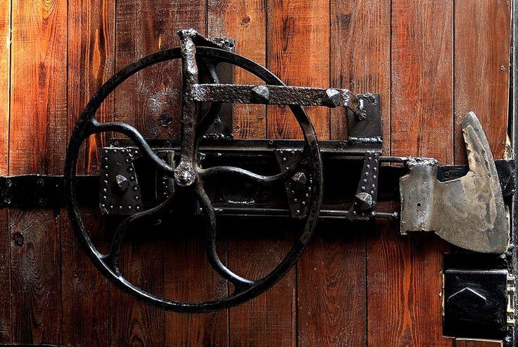 Metal door lock welded from scrap. Surindustrialle Gallery in Lodz / Poland. Scrap metal art, welding applied art and jewellery