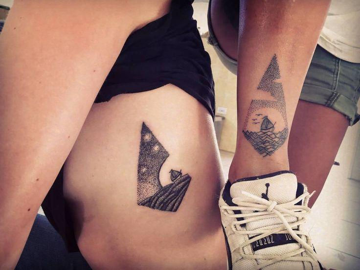 Day & night #tattoo #dotism #dots #dotwork #blackink #blackworkers #black…
