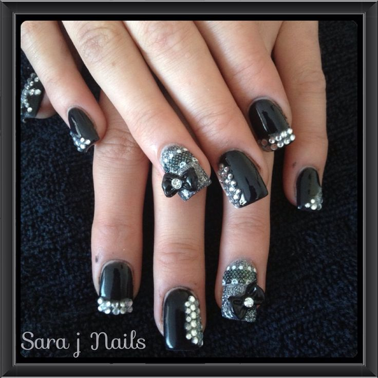 Acrylic Nail Design Black Bling