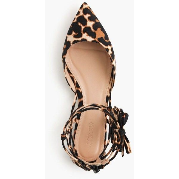 J.Crew Leopard Bow Gladiator Flats (£175) ❤ liked on Polyvore featuring shoes, flats, flat pumps, gladiator shoes, leopard print flat shoes, strappy flats and caged flats