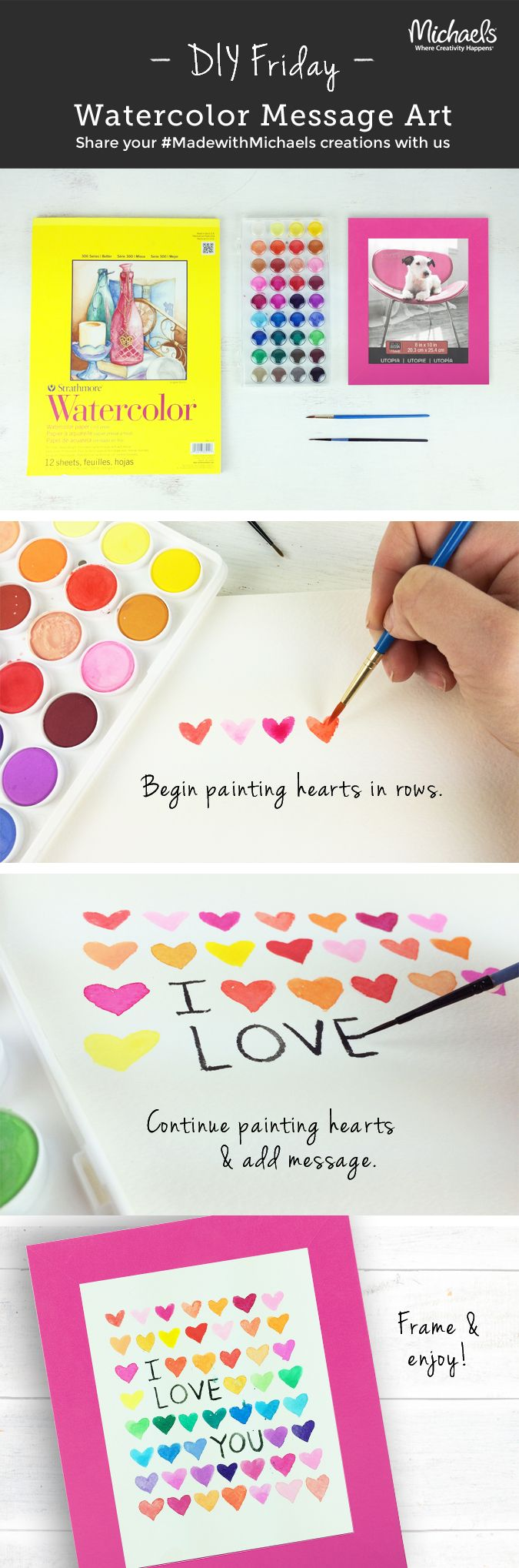 Create an easy Watercolor Message Art card or piece for the ones you love