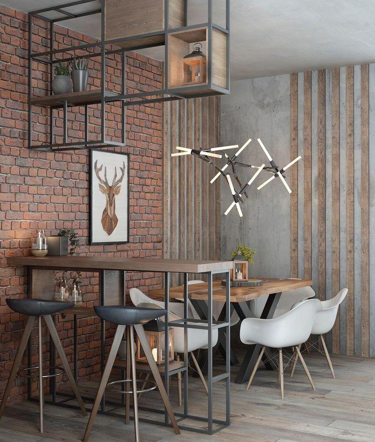 Loft Interior Design Canteen Bar Counter дизайн столовой