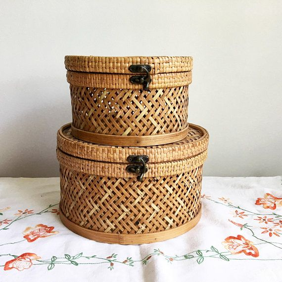 Vintage Round Chinese Baskets Woven Stacking Baskets Two Nesting Baskets W Lid Bamboo Reed Wicker Baske Wicker Baskets Storage Stacking Basket Storage Baskets