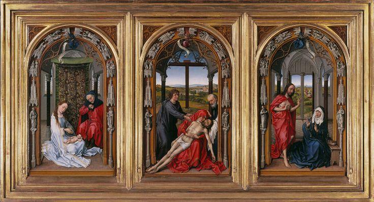 Miraflores Triptych, Rogier van der Weyden, Oil on oak panel, Before 1445, Berlin, Gemäldegalerie, Staatliche Museen zu Berlin