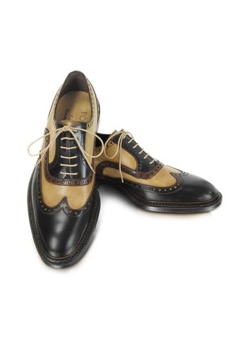 Forzieri Chaussures Oxford fait-main en cuir deux-tons
