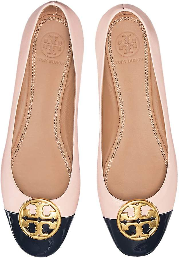 ef5851e3439a Tory Burch Seashell Pink Nappa   Perfect Navy Patent Leather Chelsea Cap-Toe  Ballet Flats  Nappa Perfect Navy