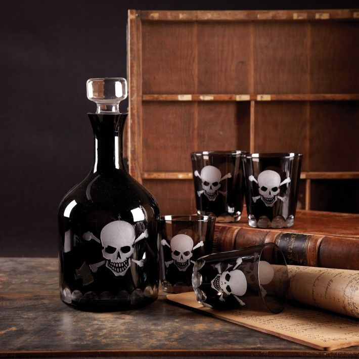 Skellington Skull and Crossbones Decanter from The Well Appointed House