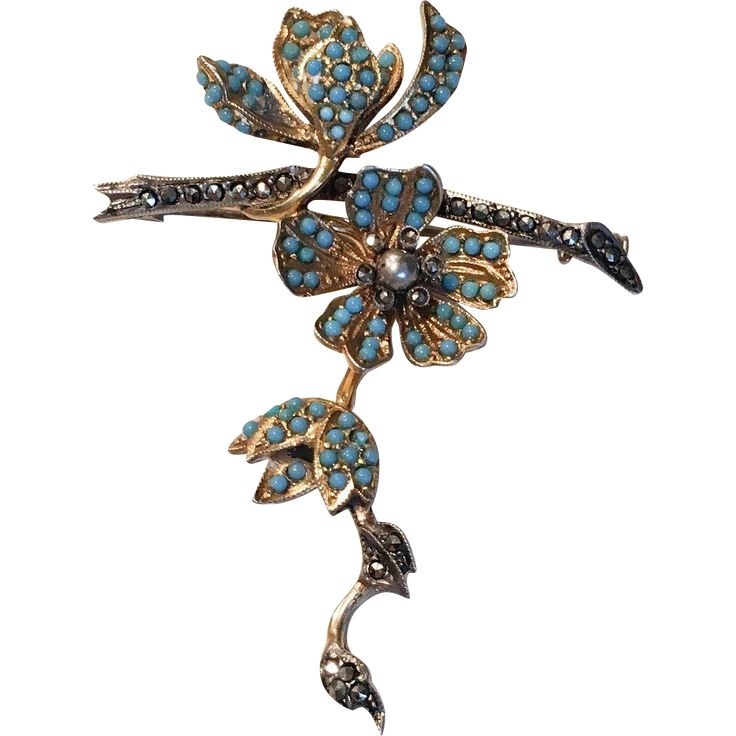 Beautiful French 'En tremblant' Vintage Brooch with Turquoise & Marcasite