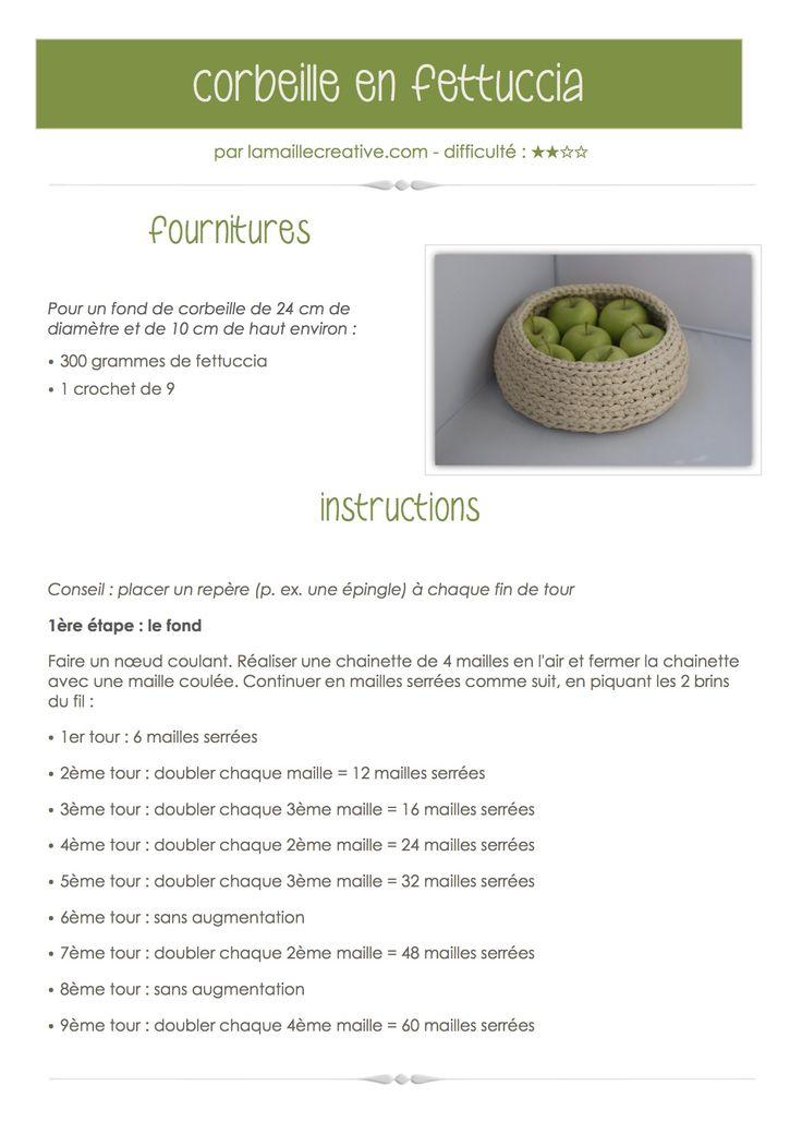 """Tutorial  """"fettuccia"""" ou """"zpagetti"""". Complete version on www.lamaillecreative.com: Crochet Baskets, Craft, Knitting Ideas, Tricot Crochet, Crochet 1"""