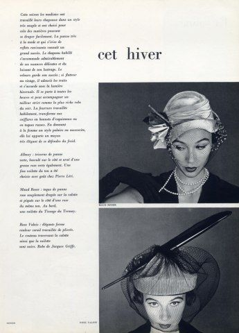 Maud Roser & Rose Valois 1950 Hats: Fashion, Women S Hats Millinery, 1950 S Head, Hats 1950S, Hats 1950 S, 1950 Hats, Accessories 1950, 1950 S Hats