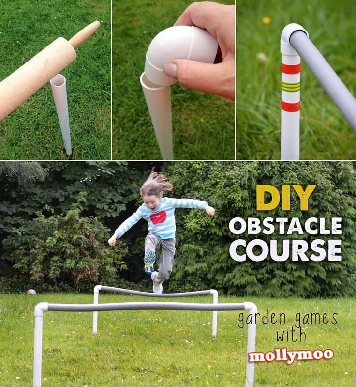 DIY Garden Obstacles  - I'm thinking drill holes in a top bar of pvc and attach water hose so kids have to jump over a spray of water.