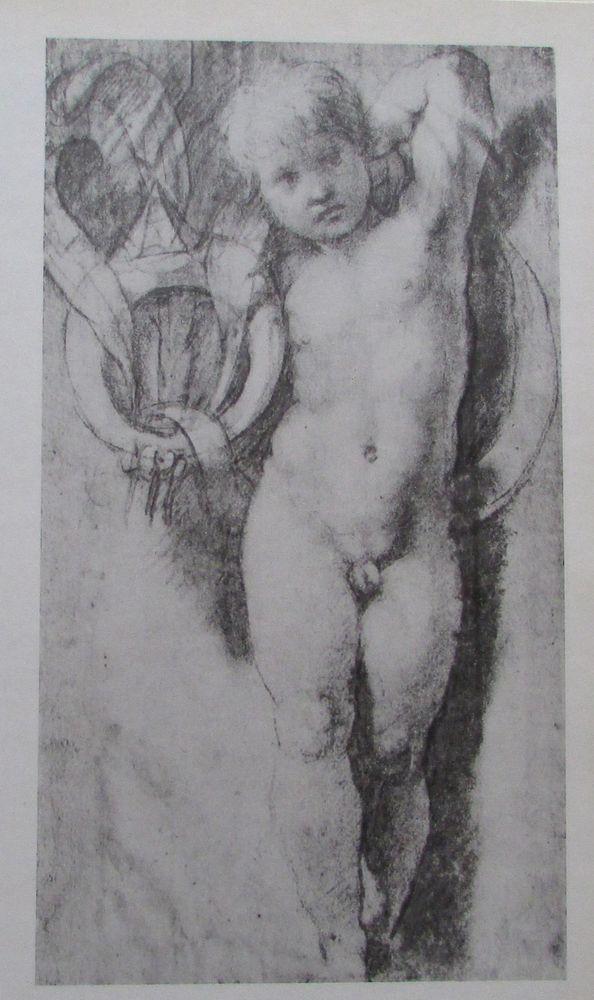 Raffael STEHENDER PUTTO Reproduktion alter Druck old print italienischer Maler
