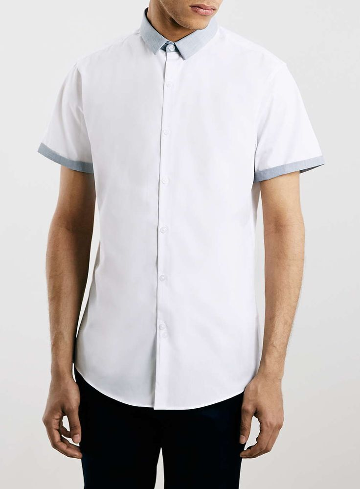 Grey Contrast Collar Short Sleeve Smart Shirt - Instant Wardrobe Update - Clothing - TOPMAN USA