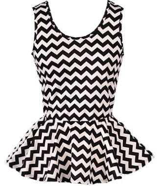 Chevron Peplum Top: Features a clean scoop neck trimmed with elegant black piping, bow-shaped backside with a chic cutout and sloped V-design, graphic chevron print throughout, and a flared peplum hem to finish.