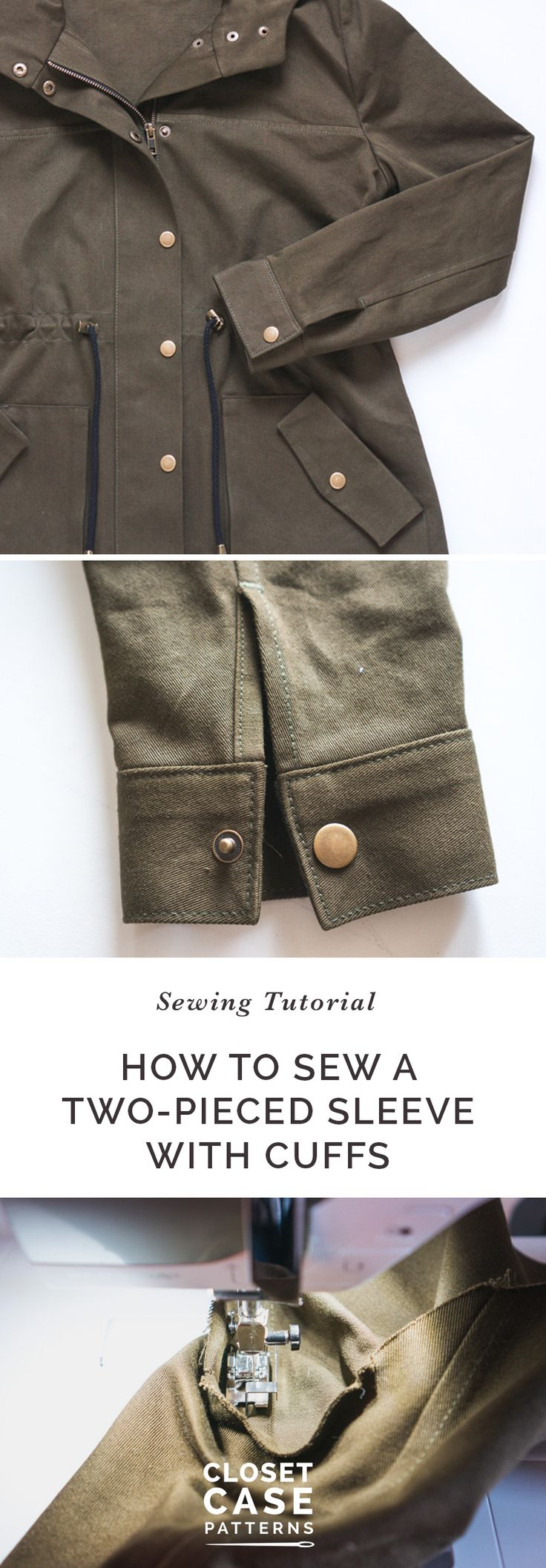 Learn to sew and set in a two piece sleeve with cuffs with our sewing tutorial! // Kelly Anorak Sewalong // Closet Case Patterns https://closetcasepatterns.com/sewalong/setting-sleeves-cuffs-unlined-version-kelly-anorak-sewalong/