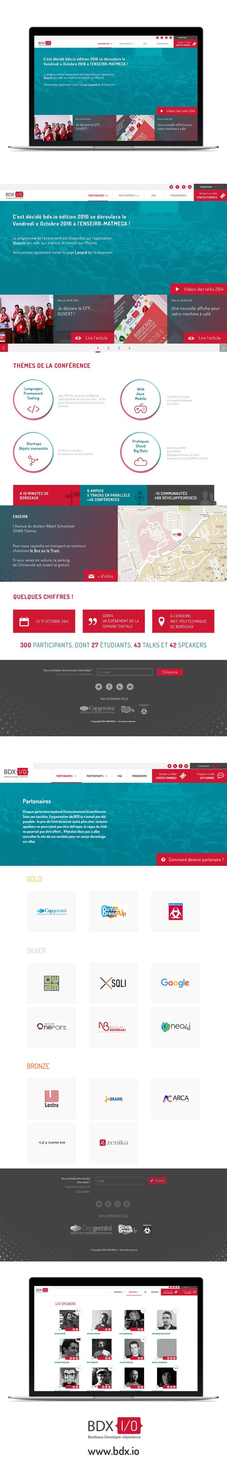 Réalisation du nouveau design du site BDX.io :  Une journée de conférences à destination des développeurs sur les technologies de demain le 21 octobre 2016.  http://www.bdx.io/#/