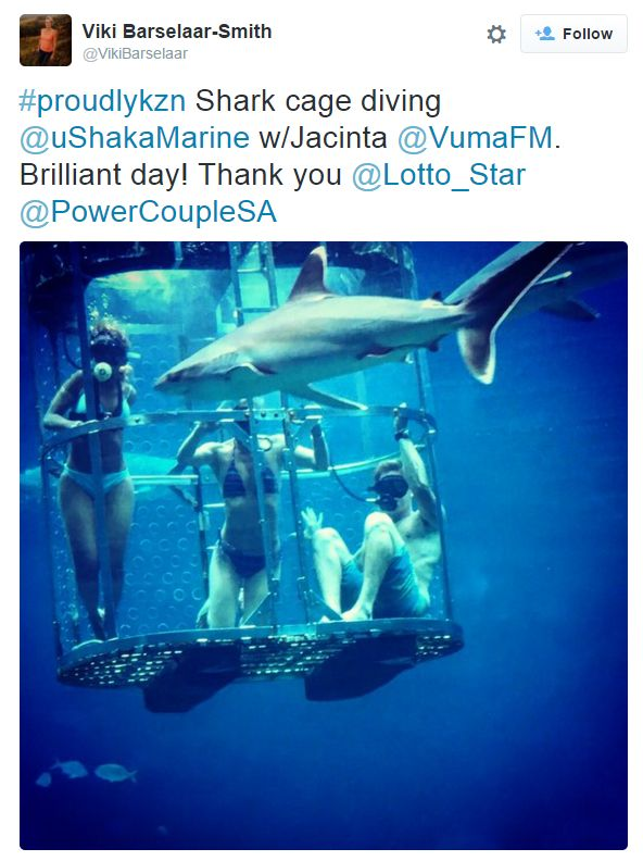 Their Kwa-Zulu Natal pitstop saw the couples get treated with a shark cage diving expedition, as tweeted by Viki.