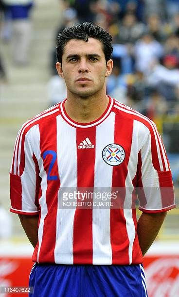 Paraguayan player Richard Salinas is seen during rendition of national anthems before the friendly match against Argentina in Resistencia Chaco...