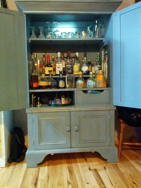 armoire made into a liquor cabinet furniture