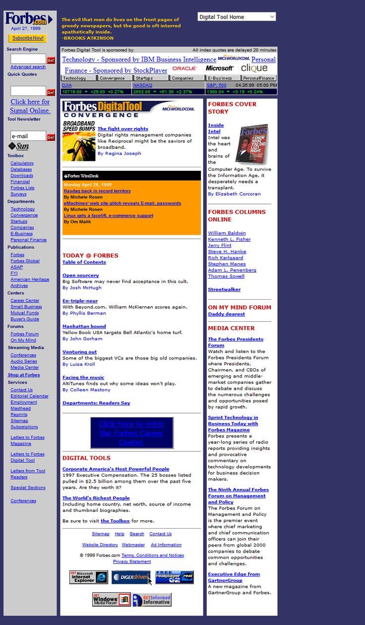 Forbes.com website in 1999