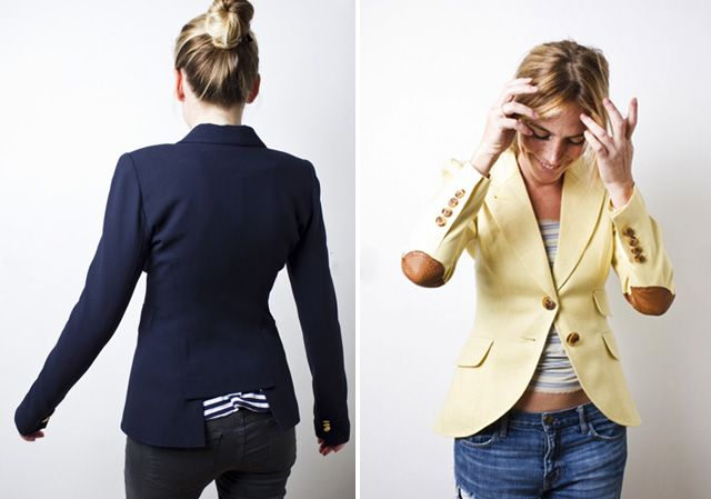 tailor old men's suit coats into women's blazers. buy some at the thrift store and make them to fit yourself.