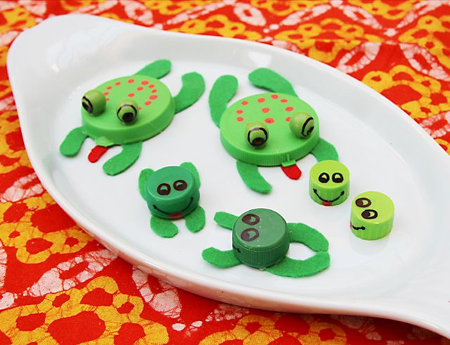 Bottle cap frogs..: Recycled Bottle, Plastic Bottle, Crafts Ideas, Bottle Cap, Kids Crafts, Frogs Swap, To Kid, Diy Projects, Plastic Lids