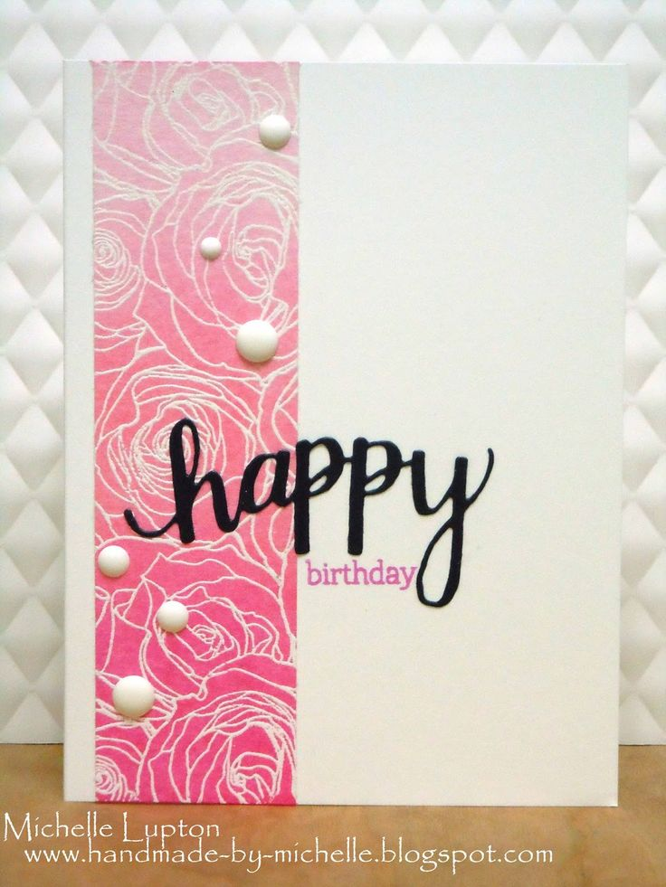 "A Blog Named Hero: Pink ombre birthday cards | #Hero_Arts ""Happy"" Stamp & Cuts 