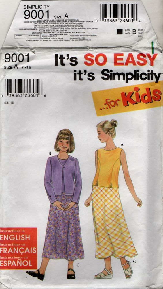 9001 Simplicity Pattern For Kids Girls Top Jacket & Skirt Sizes size 7 to 16