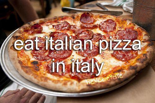 Italian pizza in Italy.