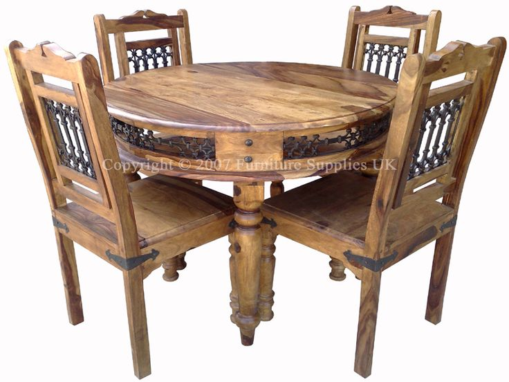 Handcrafted Sheesham Jali Round Dining Tableland And 4 Chairs