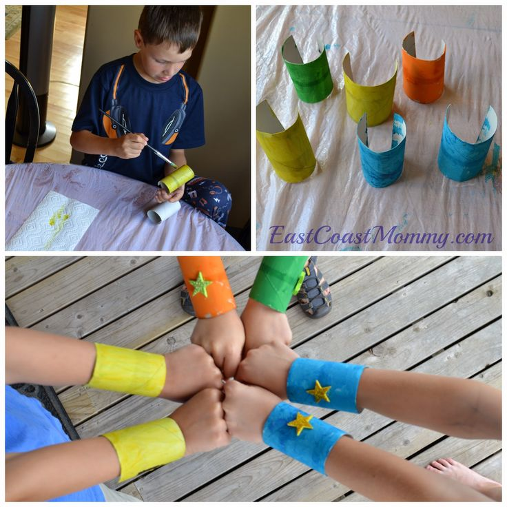 Superhero Cuffs... made from paper towel rolls. Super-cute and practically free!