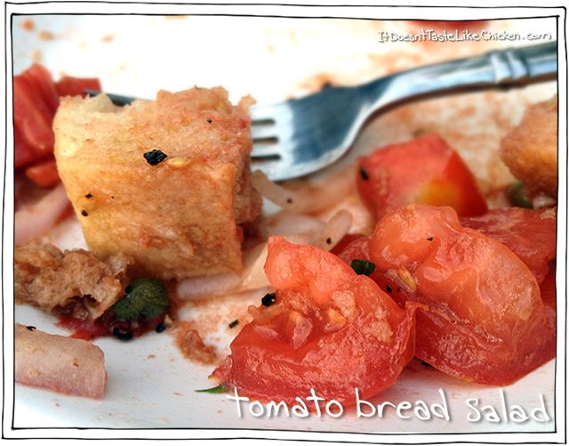 Tomato Bread Salad! A classic Italian salad made with that baguette that got hard. #itdoesnttastelikechicken