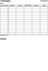 PDF timetable template 3: portrait format, A4, 1 page, Monday to Friday (5 day week), with room for notes and comments