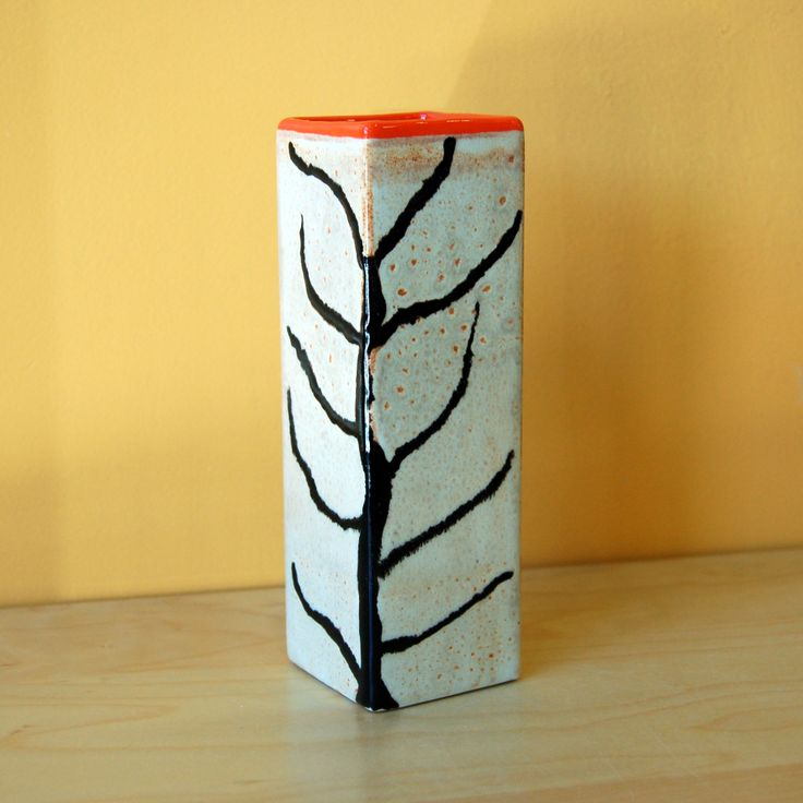 Ceramic Square Vase Tree, pottery glazes,  Creativity Art Studio, hand painted ceramics, http://creativityartstudio.com