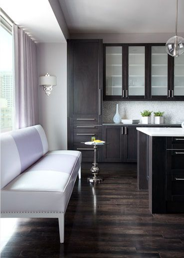 Dark wood cabinetry with the grain of the wood peeking - Grey wood floors modern interior design ...