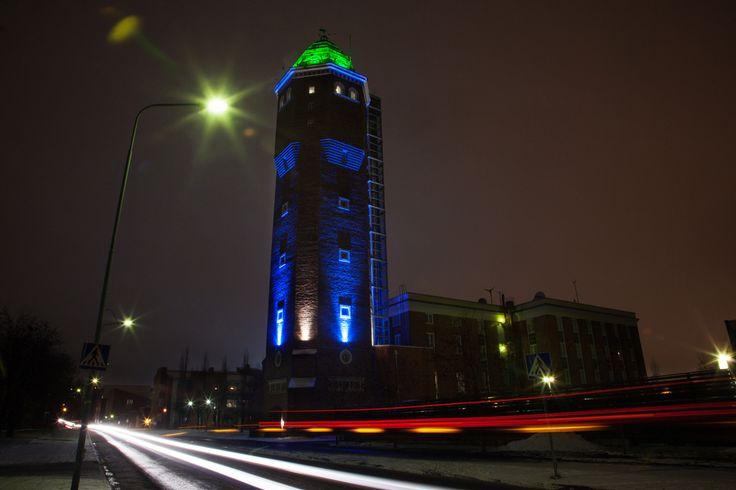 Tietomaa Tower. | Valoa Oulu! 2014 | Desig ang execution: Ilkka Kaltiola, Valopää Oy. | Photo: All rights reserved Inkeri Jäntti & Oulun kaupunki