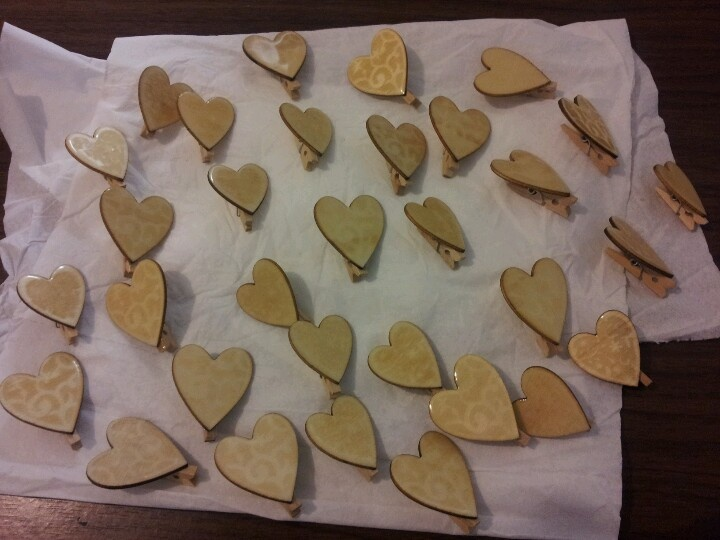 The wooden hearts all covered and ready for any type of marker or pen